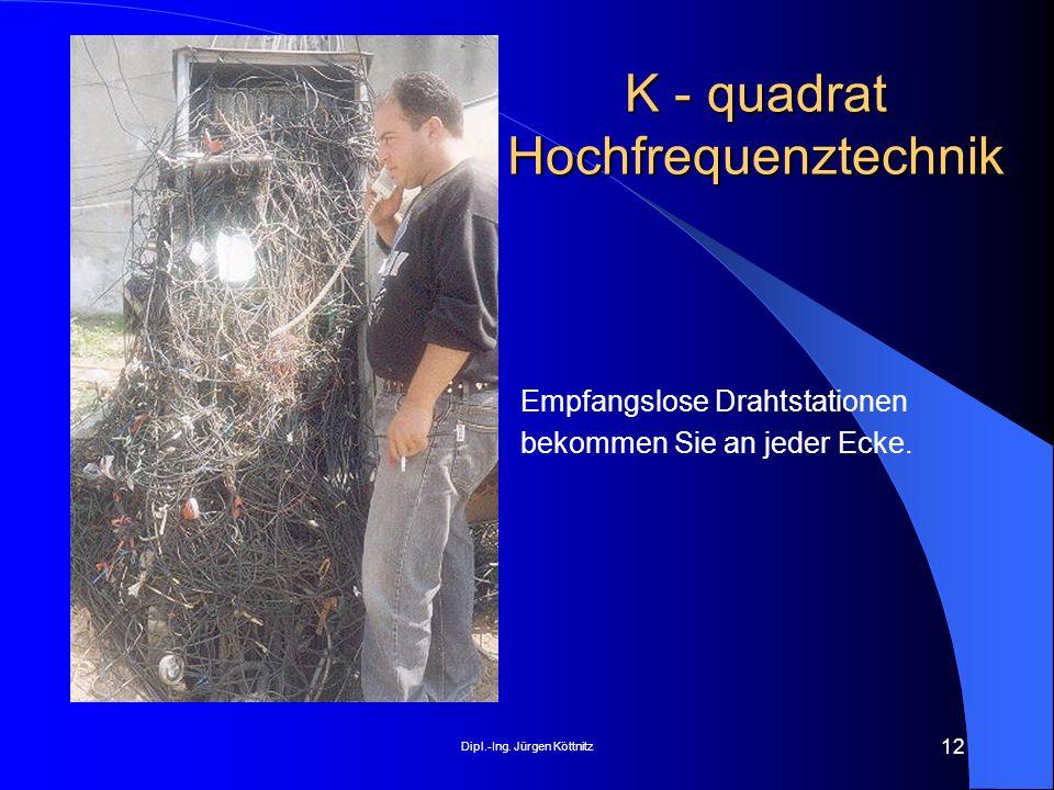 Dipl.-Ing. Jürgen Köttnitz 12 K - quadrat Hochfrequenztechnik Empfangslose Drahtstationen bekommen Sie an jeder Ecke.