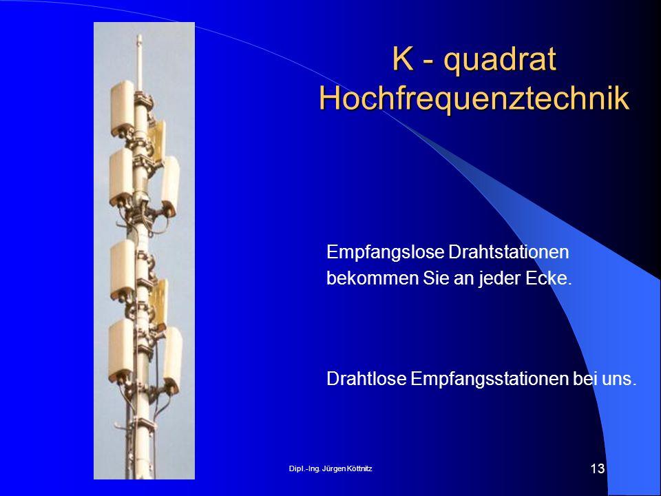 Dipl.-Ing. Jürgen Köttnitz 13 K - quadrat Hochfrequenztechnik Drahtlose Empfangsstationen bei uns. Empfangslose Drahtstationen bekommen Sie an jeder E