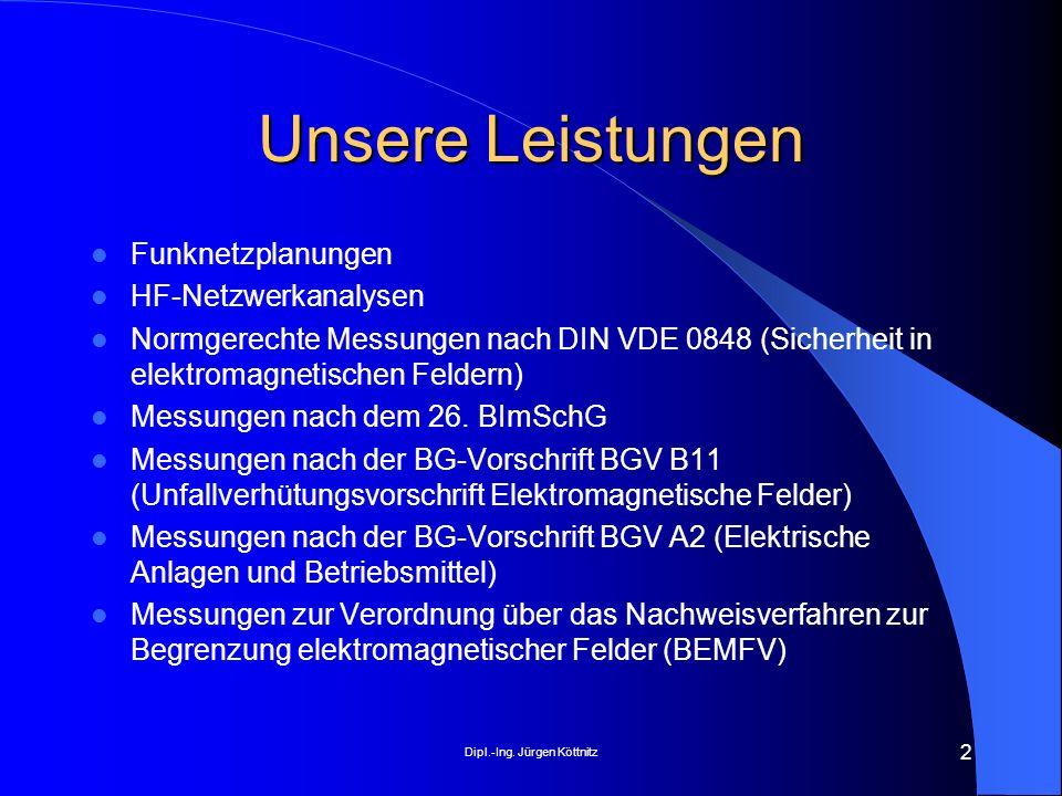Dipl.-Ing. Jürgen Köttnitz 2 Unsere Leistungen Funknetzplanungen HF-Netzwerkanalysen Normgerechte Messungen nach DIN VDE 0848 (Sicherheit in elektroma