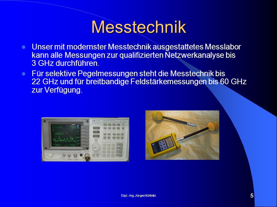 Dipl.-Ing. Jürgen Köttnitz 5 Messtechnik Unser mit modernster Messtechnik ausgestattetes Messlabor kann alle Messungen zur qualifizierten Netzwerkanal