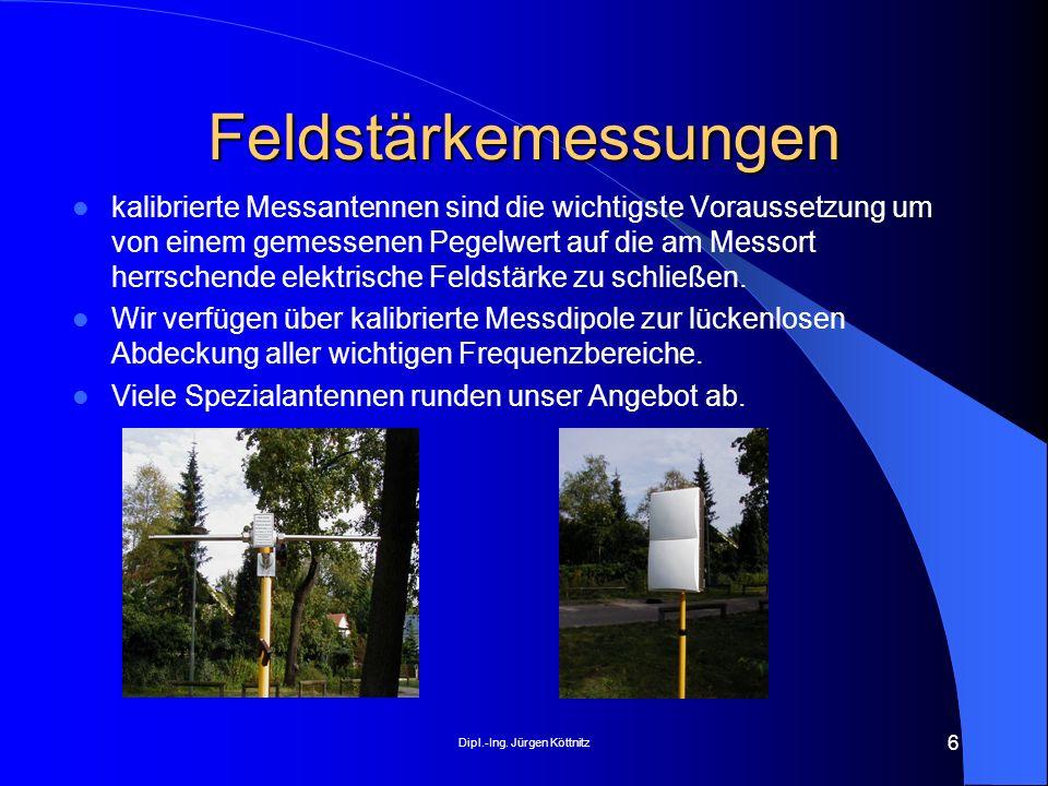 Dipl.-Ing. Jürgen Köttnitz 6 Feldstärkemessungen kalibrierte Messantennen sind die wichtigste Voraussetzung um von einem gemessenen Pegelwert auf die