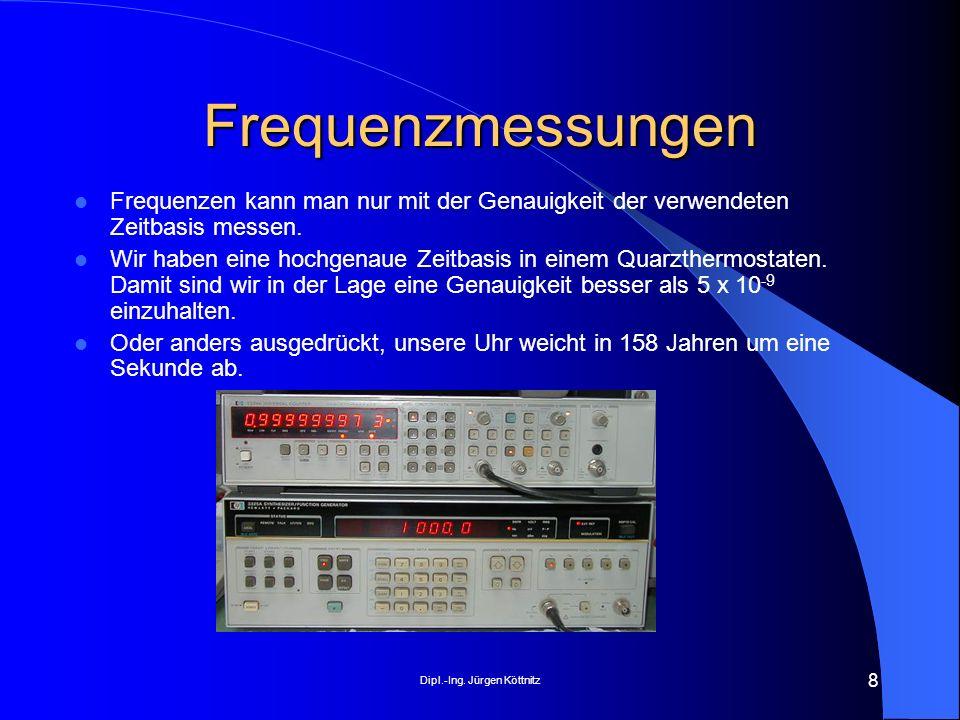 Dipl.-Ing. Jürgen Köttnitz 8 Frequenzmessungen Frequenzen kann man nur mit der Genauigkeit der verwendeten Zeitbasis messen. Wir haben eine hochgenaue