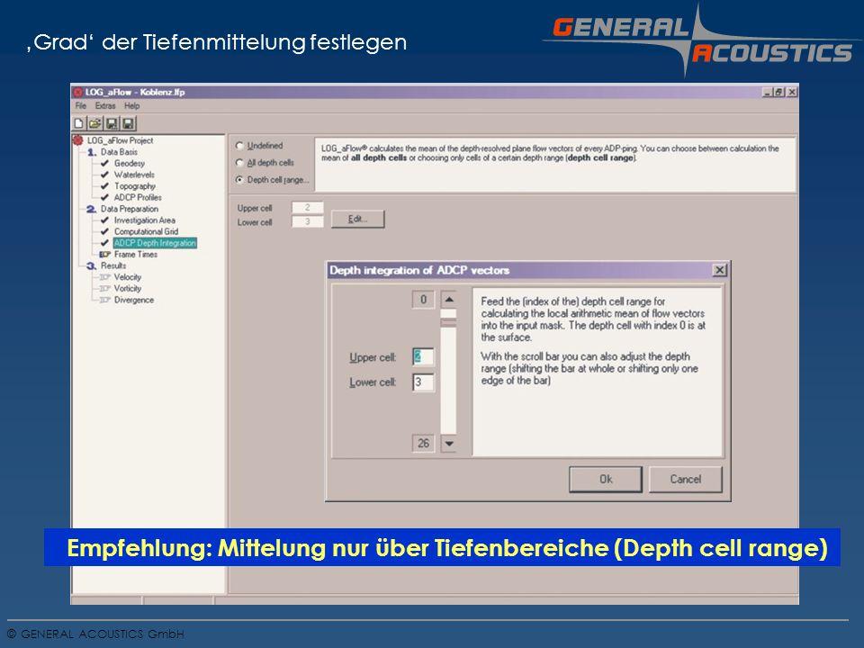 GENERAL ACOUSTICS GmbH © Grad der Tiefenmittelung festlegen Empfehlung: Mittelung nur über Tiefenbereiche (Depth cell range)