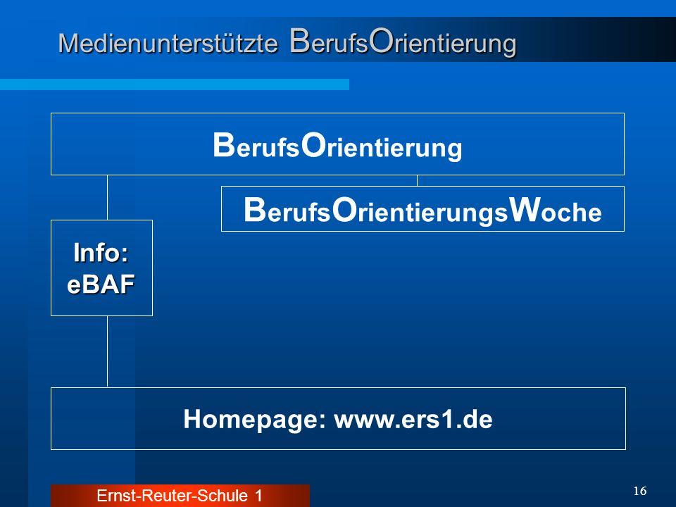 Ernst-Reuter-Schule 1 16 Medienunterstützte B erufs O rientierung B erufs O rientierung Homepage: www.ers1.de Info:eBAF B erufs O rientierungs W oche