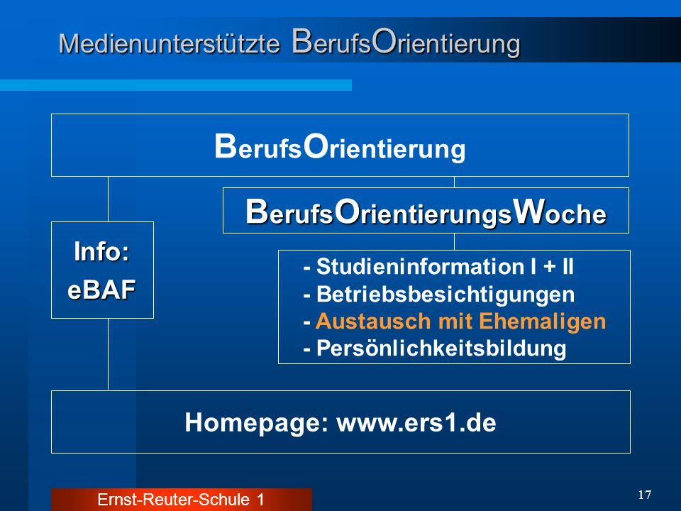 Ernst-Reuter-Schule 1 17 Medienunterstützte B erufs O rientierung B erufs O rientierung Homepage: www.ers1.de Info:eBAF B erufs O rientierungs W oche