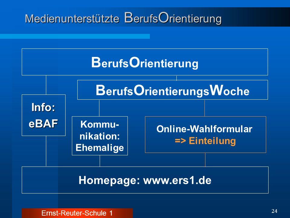 Ernst-Reuter-Schule 1 24 Medienunterstützte B erufs O rientierung B erufs O rientierung Homepage: www.ers1.de B erufs O rientierungs W oche Online-Wah