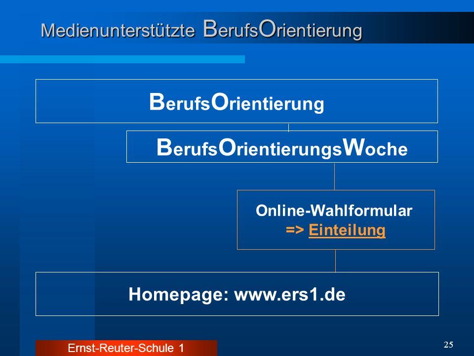Ernst-Reuter-Schule 1 25 Medienunterstützte B erufs O rientierung B erufs O rientierung Homepage: www.ers1.de B erufs O rientierungs W oche Online-Wah