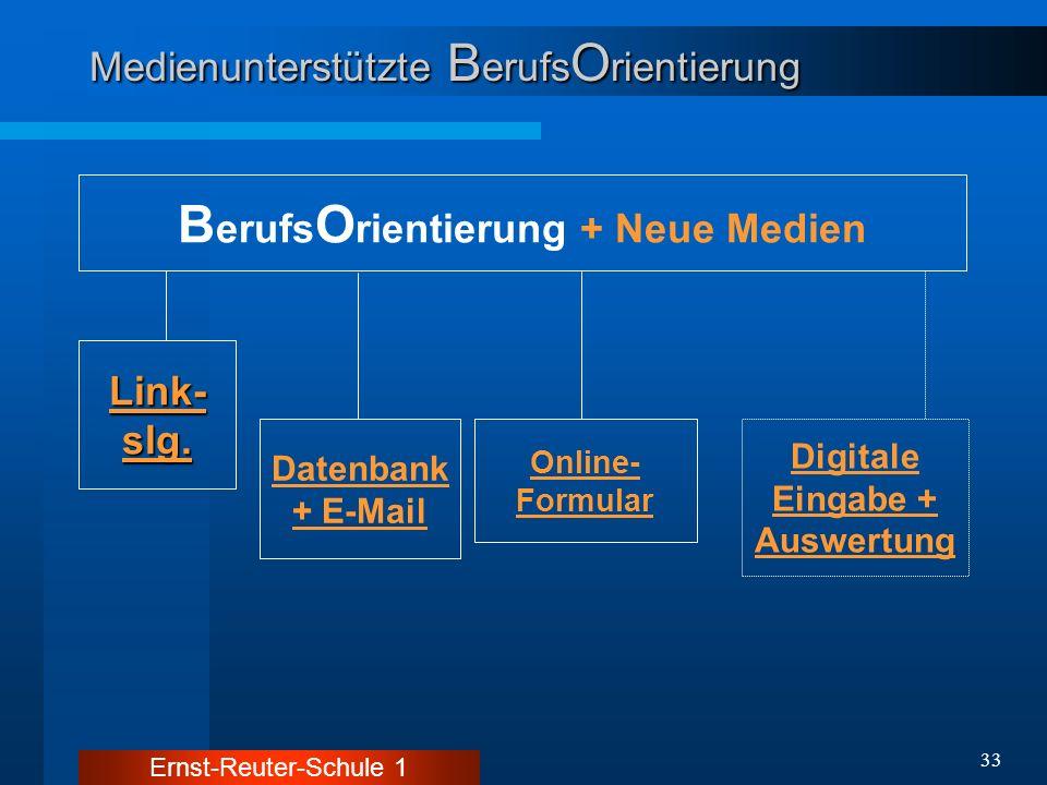 Ernst-Reuter-Schule 1 33 Medienunterstützte B erufs O rientierung B erufs O rientierung + Neue Medien Online- Formular Digitale Eingabe + Auswertung L