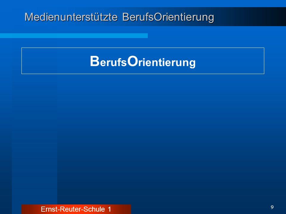 Ernst-Reuter-Schule 1 10 Medienunterstützte BerufsOrientierung B erufs O rientierung Informationsvermittlung: - interne Infos - externe Infos - aktuell - selektiv