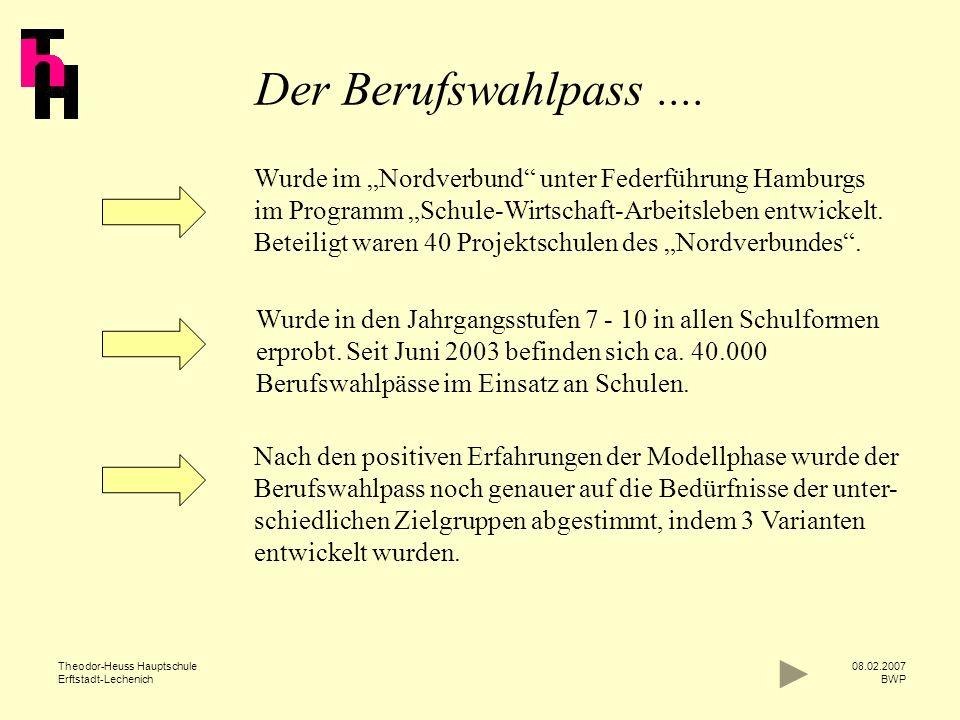 Theodor-Heuss Hauptschule Erftstadt-Lechenich 08.02.2007 BWP Teil 1 Programm der Schule zur Berufsorientierung Informationen über die Berufsberatung des Arbeitsamtes Informationen über externe Partner der Schule z.B.