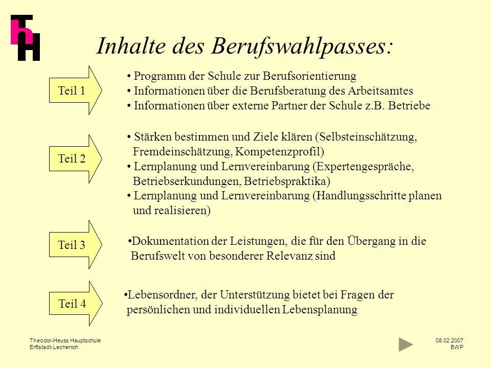 Theodor-Heuss Hauptschule Erftstadt-Lechenich 08.02.2007 BWP Teil 1 Programm der Schule zur Berufsorientierung Informationen über die Berufsberatung d