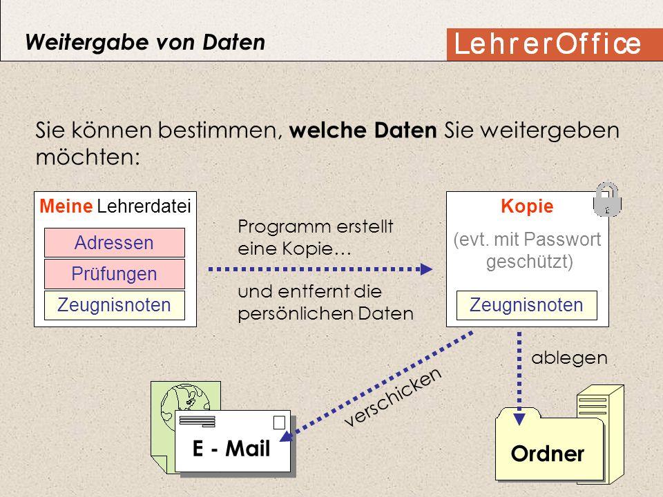 Sie können bestimmen, welche Daten Sie weitergeben möchten: Meine Lehrerdatei Prüfungen Adressen Zeugnisnoten Kopie (evt. mit Passwort geschützt) Zeug