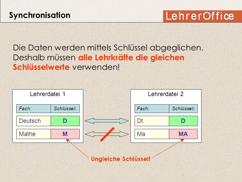 Synchronisation Die Daten werden mittels Schlüssel abgeglichen. Deshalb müssen alle Lehrkräfte die gleichen Schlüsselwerte verwenden! Lehrerdatei 1 De