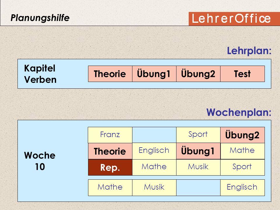 Kapitel Verben TheorieÜbung1Übung2Test Lehrplan: Woche 10 Wochenplan: Franz Sport Deutsch Englisch Deutsch Mathe DeutschMatheMusikSport MatheMusikEngl