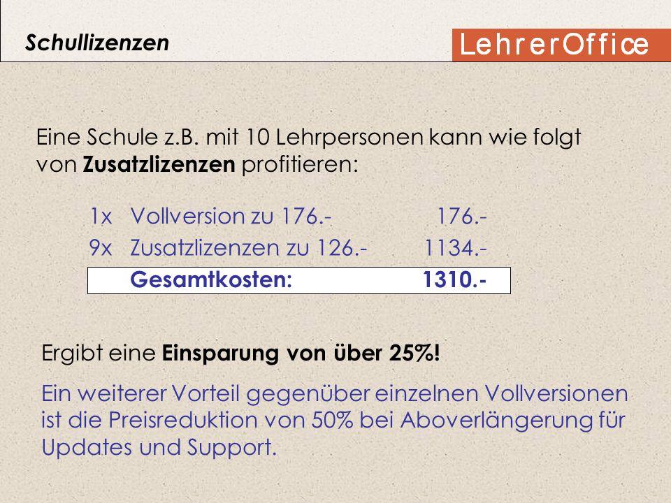 Eine Schule z.B. mit 10 Lehrpersonen kann wie folgt von Zusatzlizenzen profitieren: 1x Vollversion zu 176.- 9x Zusatzlizenzen zu 126.- 176.- 1134.- Ge