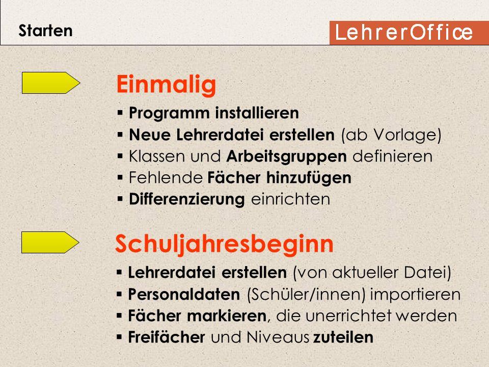 Starten Einmalig Programm installieren Neue Lehrerdatei erstellen (ab Vorlage) Klassen und Arbeitsgruppen definieren Fehlende Fächer hinzufügen Differ