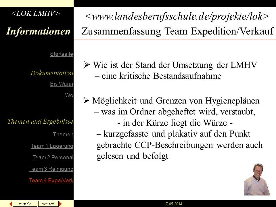 zurück weiter 17.05.2014 Informationen Zusammenfassung Team Expedition/Verkauf Wie ist der Stand der Umsetzung der LMHV – eine kritische Bestandsaufna