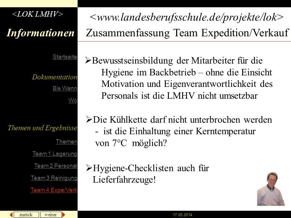 zurück weiter 17.05.2014 Informationen Zusammenfassung Team Expedition/Verkauf Bewusstseinsbildung der Mitarbeiter für die Hygiene im Backbetrieb – oh