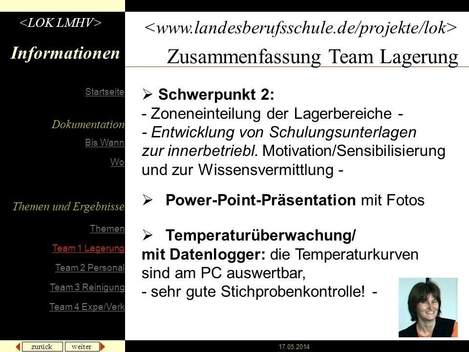zurück weiter 17.05.2014 Informationen Zusammenfassung Team Lagerung Power-Point-Präsentation mit Fotos Schwerpunkt 2: - Zoneneinteilung der Lagerbereiche - - Entwicklung von Schulungsunterlagen zur innerbetriebl.