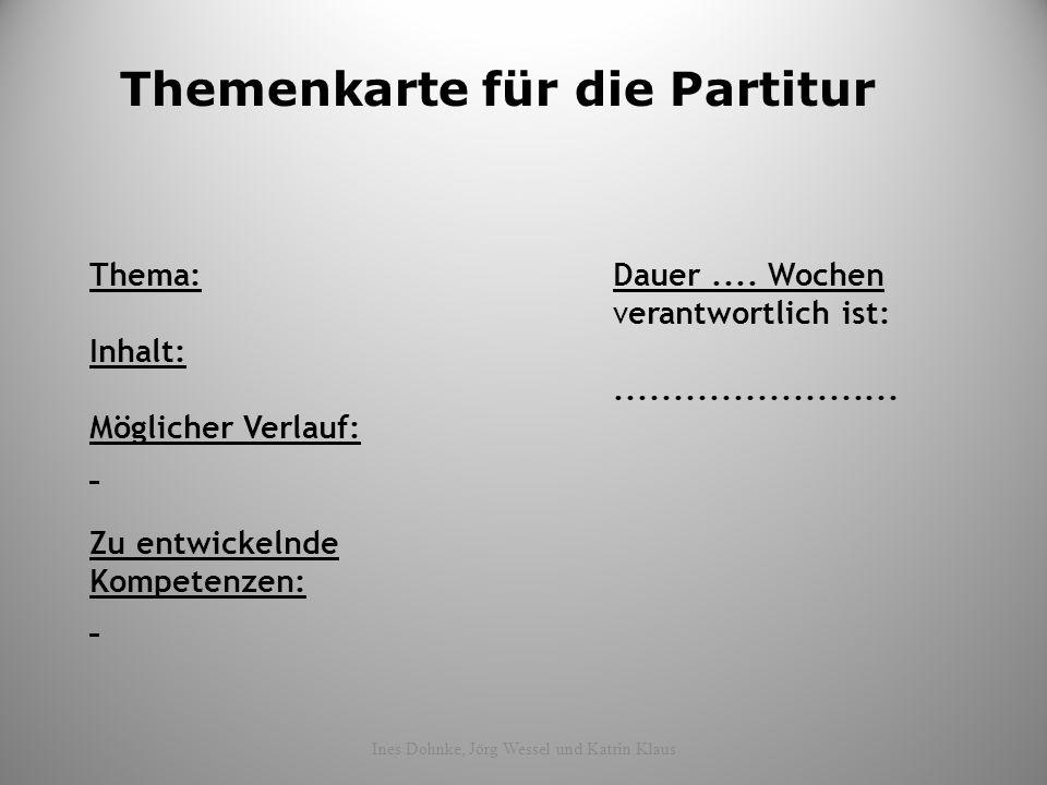 Themenkarte für die Partitur Thema:Dauer.... Wochen verantwortlich ist: Inhalt:........................ Möglicher Verlauf: Zu entwickelnde Kompetenzen