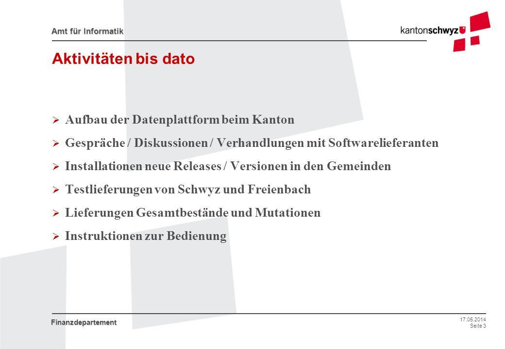 17.05.2014 Seite 3 Amt für Informatik Finanzdepartement Aktivitäten bis dato Aufbau der Datenplattform beim Kanton Gespräche / Diskussionen / Verhandl