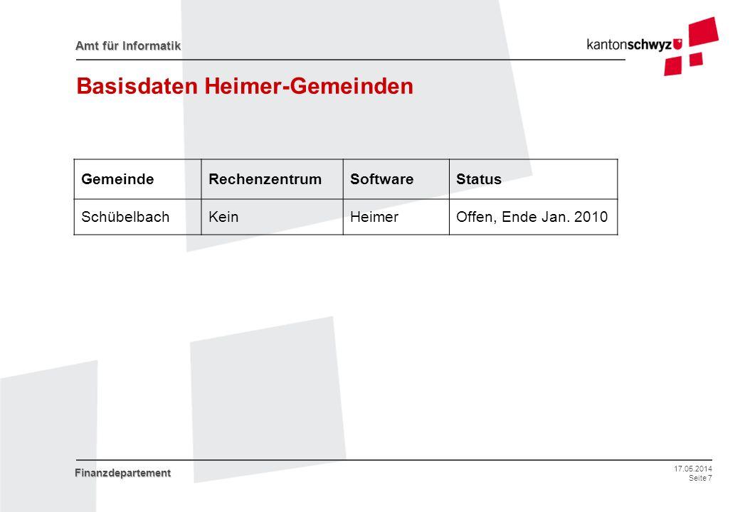 17.05.2014 Seite 7 Amt für Informatik Finanzdepartement Basisdaten Heimer-Gemeinden GemeindeRechenzentrumSoftwareStatus SchübelbachKeinHeimerOffen, En