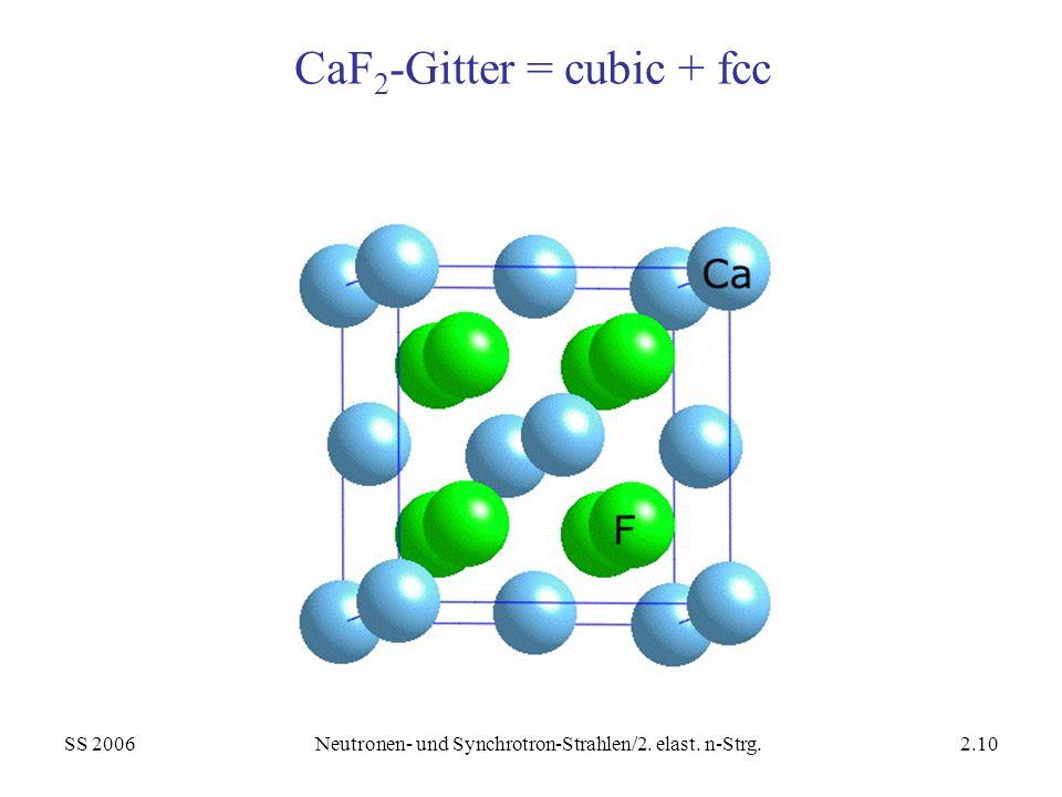 SS 2006Neutronen- und Synchrotron-Strahlen/2. elast. n-Strg.2.10 CaF 2 -Gitter = cubic + fcc
