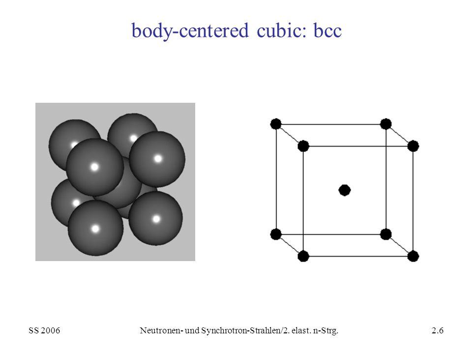 SS 2006Neutronen- und Synchrotron-Strahlen/2. elast. n-Strg.2.6 body-centered cubic: bcc