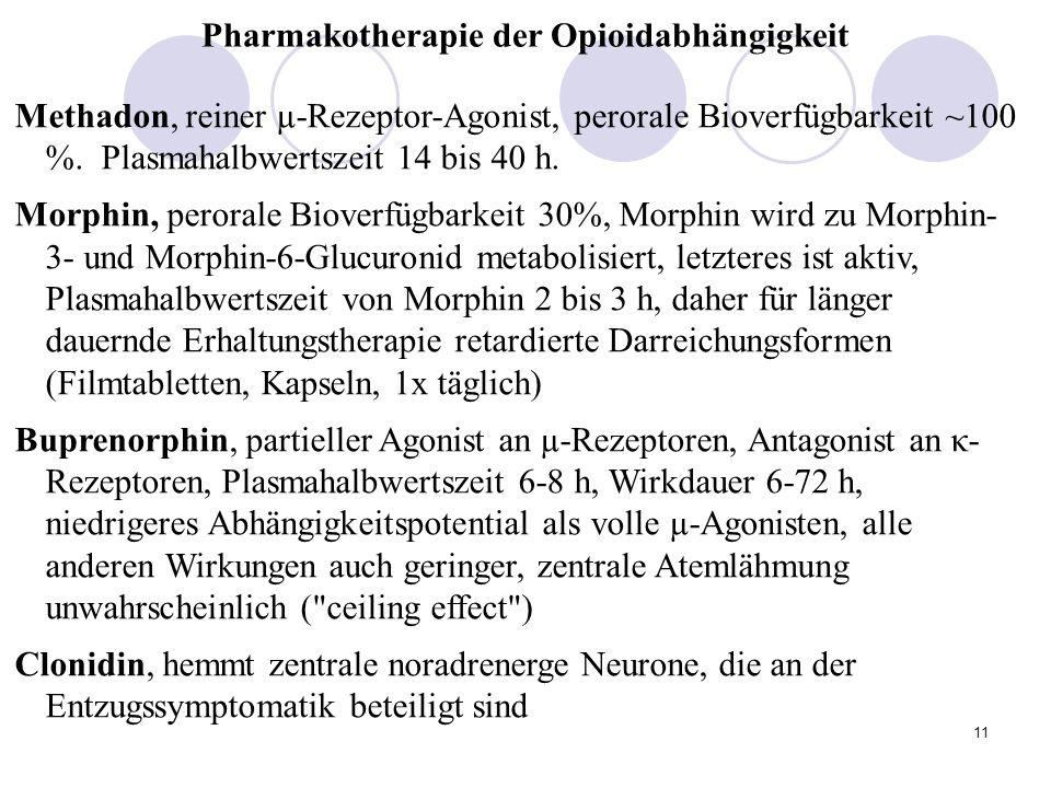 11 Pharmakotherapie der Opioidabhängigkeit Methadon, reiner µ-Rezeptor-Agonist, perorale Bioverfügbarkeit ~100 %.