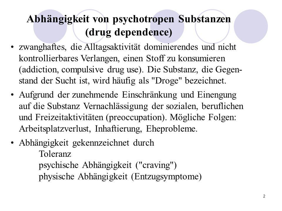 2 Abhängigkeit von psychotropen Substanzen (drug dependence) zwanghaftes, die Alltagsaktivität dominierendes und nicht kontrollierbares Verlangen, einen Stoff zu konsumieren (addiction, compulsive drug use).