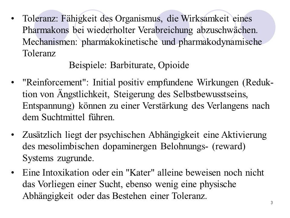 3 Toleranz: Fähigkeit des Organismus, die Wirksamkeit eines Pharmakons bei wiederholter Verabreichung abzuschwächen.