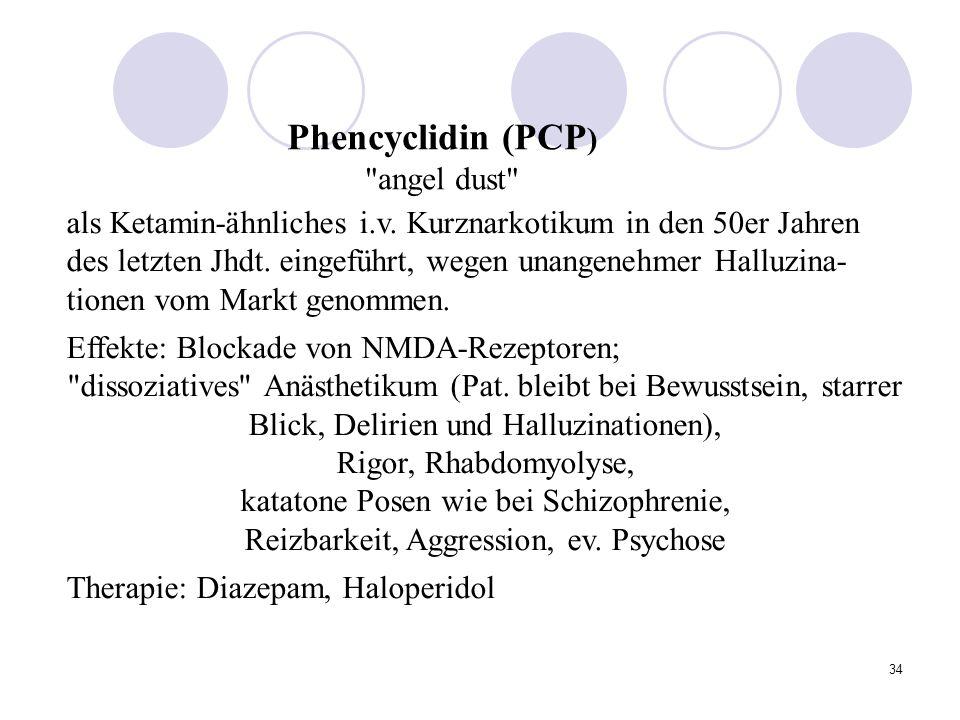 34 als Ketamin-ähnliches i.v.Kurznarkotikum in den 50er Jahren des letzten Jhdt.