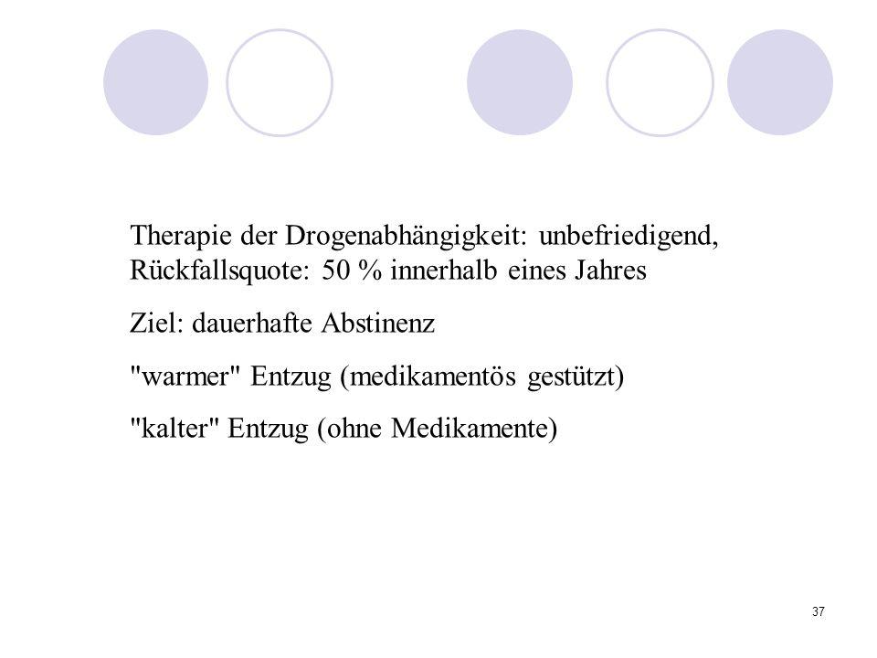 37 Therapie der Drogenabhängigkeit: unbefriedigend, Rückfallsquote: 50 % innerhalb eines Jahres Ziel: dauerhafte Abstinenz warmer Entzug (medikamentös gestützt) kalter Entzug (ohne Medikamente)