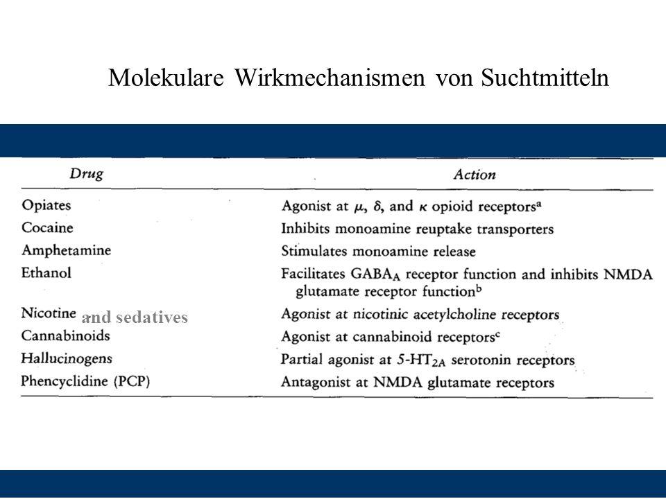 Molekulare Wirkmechanismen von Suchtmitteln and sedatives