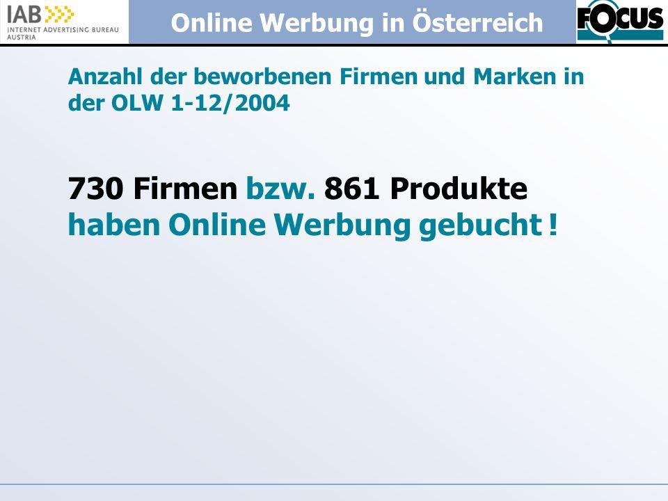 Online Werbung in Österreich Anzahl der beworbenen Firmen und Marken in der OLW 1-12/2004 730 Firmen bzw. 861 Produkte haben Online Werbung gebucht !