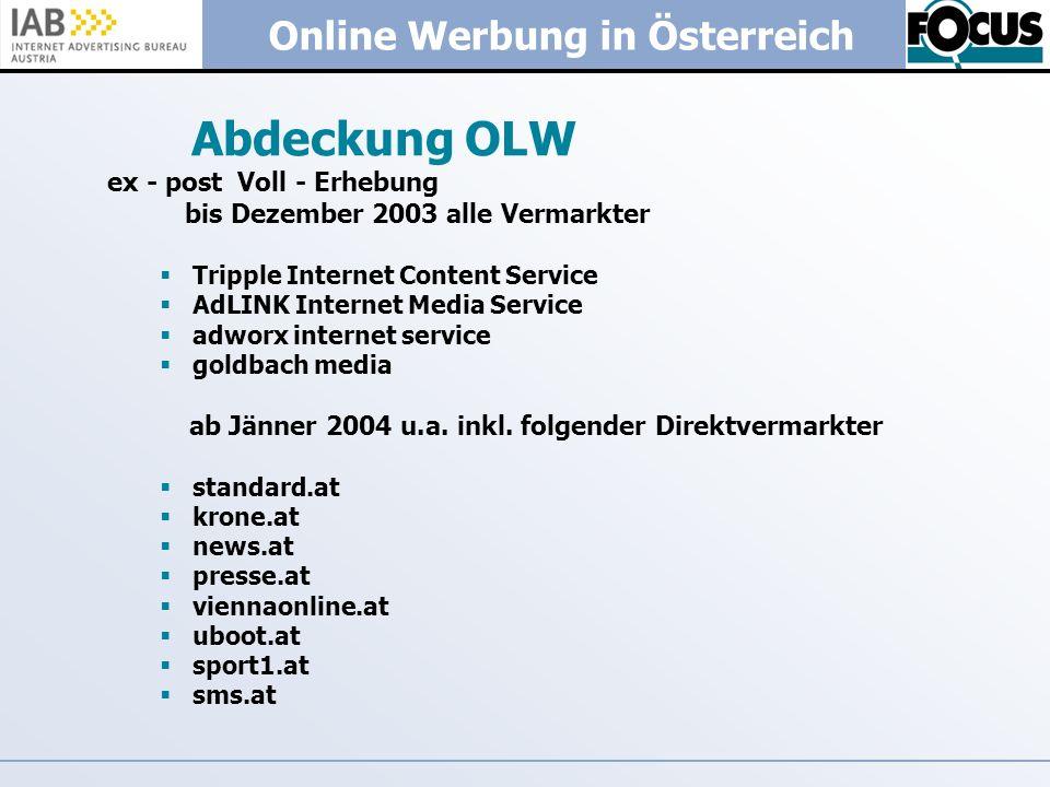 Online Werbung in Österreich Abdeckung OLW ex - post Voll - Erhebung bis Dezember 2003 alle Vermarkter Tripple Internet Content Service AdLINK Interne