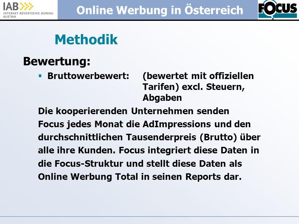 Online Werbung in Österreich Methodik Bewertung: Bruttowerbewert: (bewertet mit offiziellen Tarifen) excl. Steuern, Abgaben Die kooperierenden Unterne