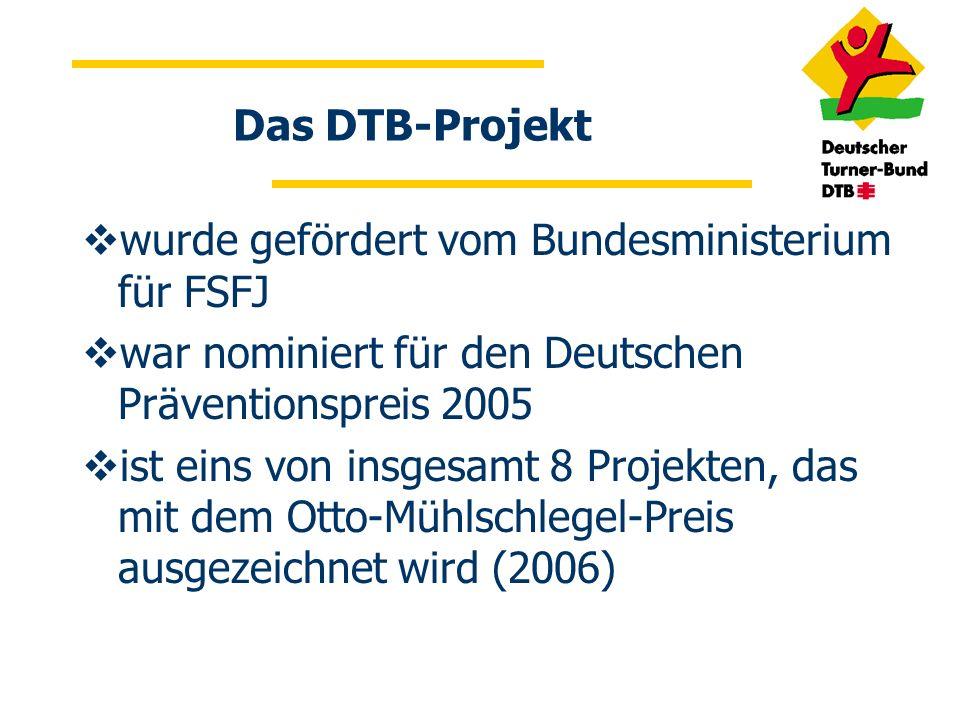 Das DTB-Projekt wurde gefördert vom Bundesministerium für FSFJ war nominiert für den Deutschen Präventionspreis 2005 ist eins von insgesamt 8 Projekte