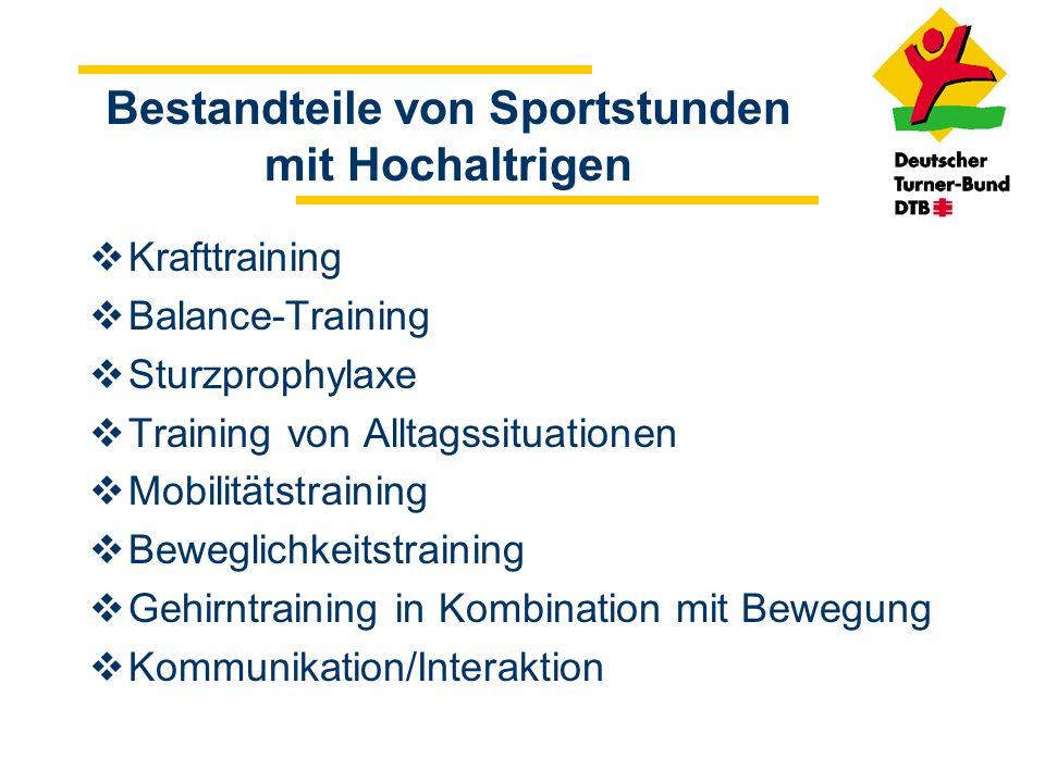 Bestandteile von Sportstunden mit Hochaltrigen Krafttraining Balance-Training Sturzprophylaxe Training von Alltagssituationen Mobilitätstraining Beweg