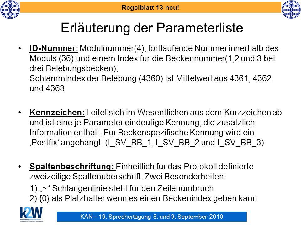KAN – 19. Sprechertagung 8. und 9. September 2010 Regelblatt 13 neu! ID-Nummer: Modulnummer(4), fortlaufende Nummer innerhalb des Moduls (36) und eine
