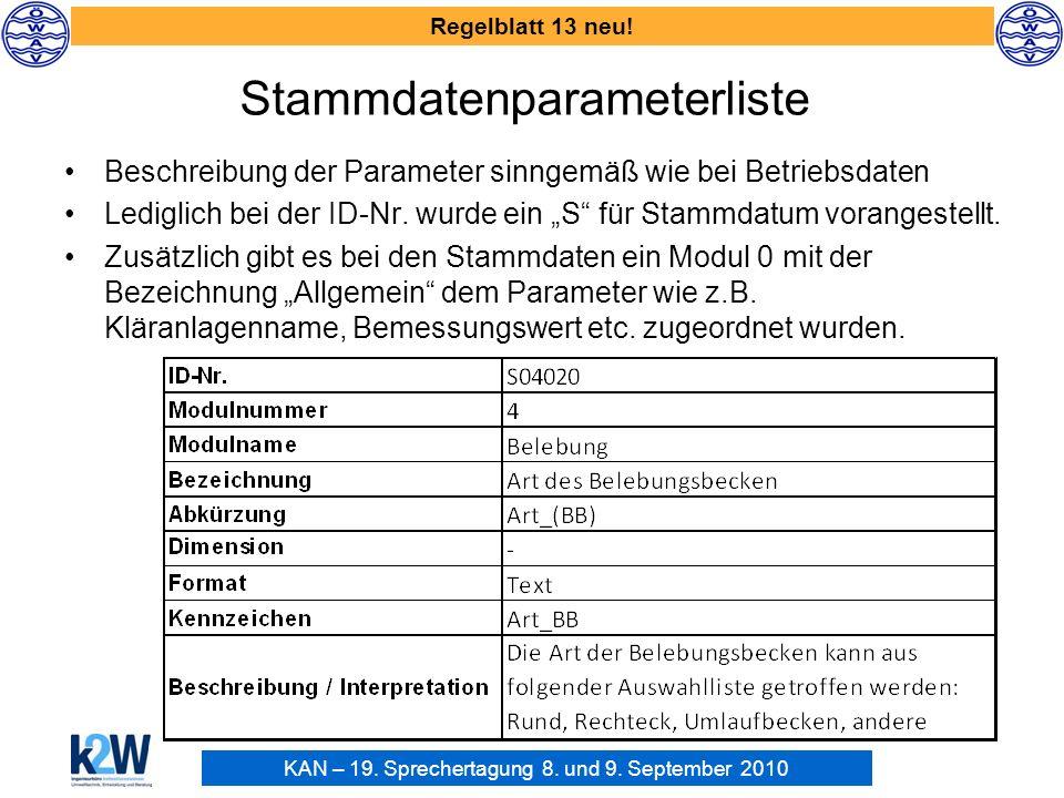 KAN – 19. Sprechertagung 8. und 9. September 2010 Regelblatt 13 neu! Stammdatenparameterliste Beschreibung der Parameter sinngemäß wie bei Betriebsdat