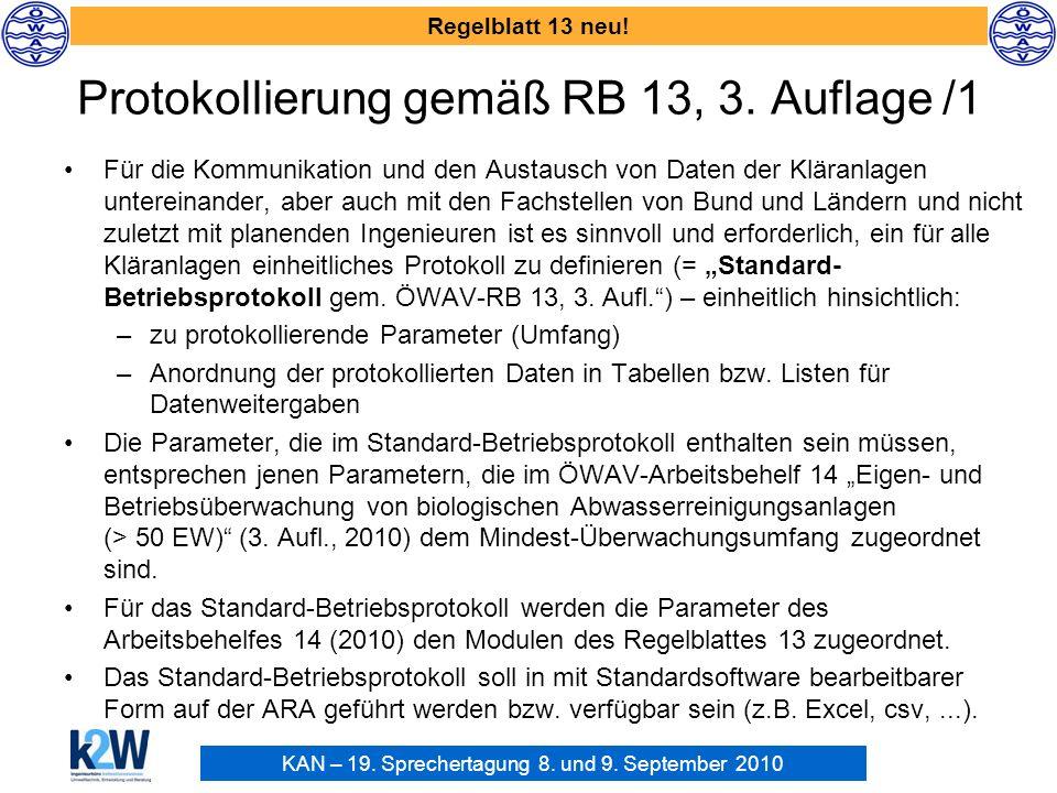 KAN – 19. Sprechertagung 8. und 9. September 2010 Regelblatt 13 neu! Protokollierung gemäß RB 13, 3. Auflage /1 Für die Kommunikation und den Austausc