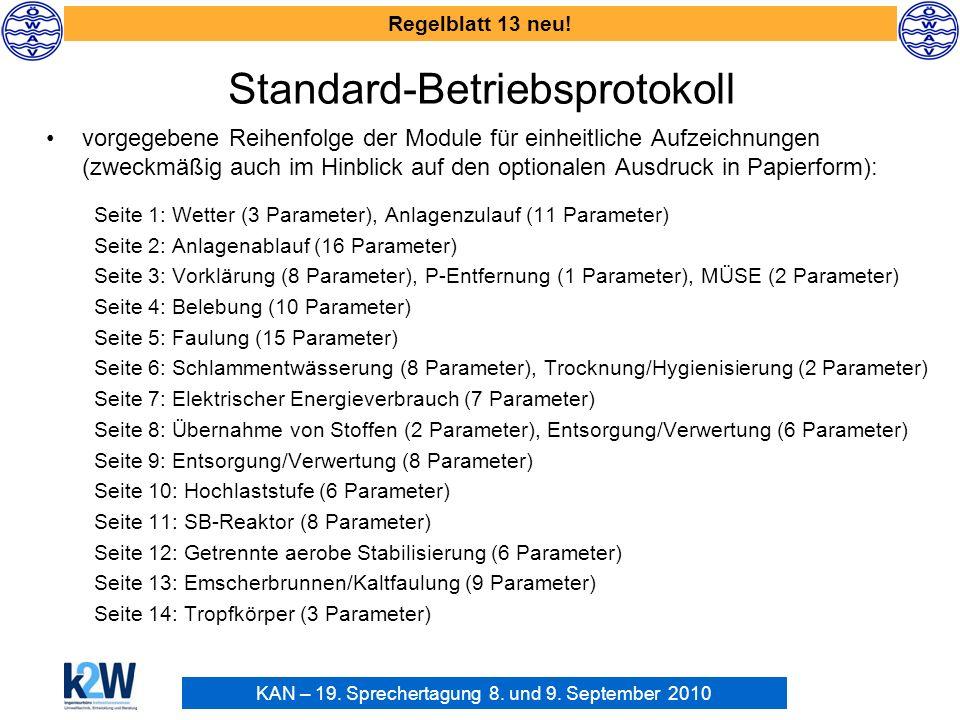 KAN – 19. Sprechertagung 8. und 9. September 2010 Regelblatt 13 neu! Standard-Betriebsprotokoll vorgegebene Reihenfolge der Module für einheitliche Au
