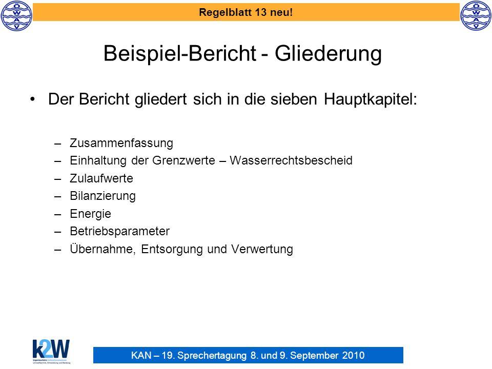 KAN – 19. Sprechertagung 8. und 9. September 2010 Regelblatt 13 neu! Beispiel-Bericht - Gliederung Der Bericht gliedert sich in die sieben Hauptkapite