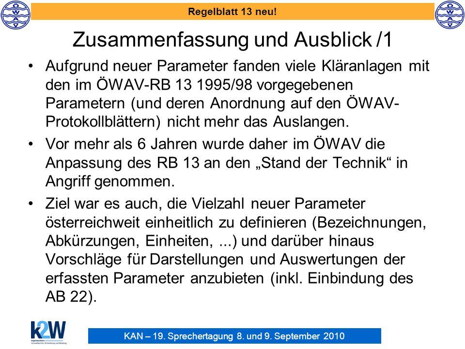 KAN – 19. Sprechertagung 8. und 9. September 2010 Regelblatt 13 neu! Zusammenfassung und Ausblick /1 Aufgrund neuer Parameter fanden viele Kläranlagen