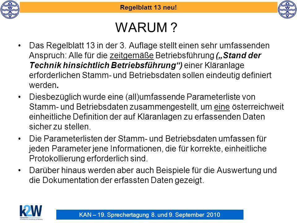 KAN – 19. Sprechertagung 8. und 9. September 2010 Regelblatt 13 neu! WARUM ? Das Regelblatt 13 in der 3. Auflage stellt einen sehr umfassenden Anspruc