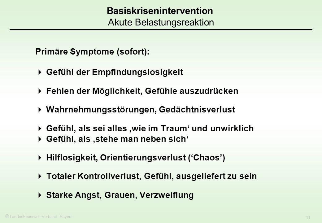 © LandesFeuerwehrVerband Bayern 11 Primäre Symptome (sofort): Gefühl der Empfindungslosigkeit Fehlen der Möglichkeit, Gefühle auszudrücken Wahrnehmung