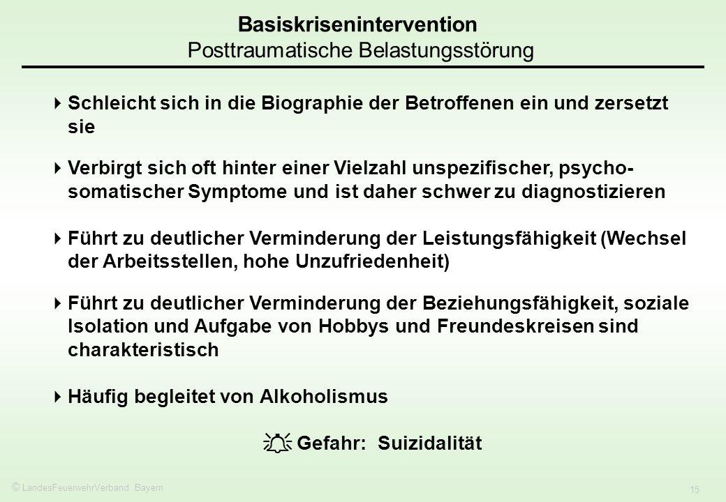 © LandesFeuerwehrVerband Bayern 15 Basiskrisenintervention Posttraumatische Belastungsstörung Schleicht sich in die Biographie der Betroffenen ein und