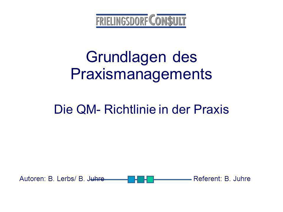 Grundlagen des Praxismanagements Die QM- Richtlinie in der Praxis Autoren: B. Lerbs/ B. JuhreReferent: B. Juhre