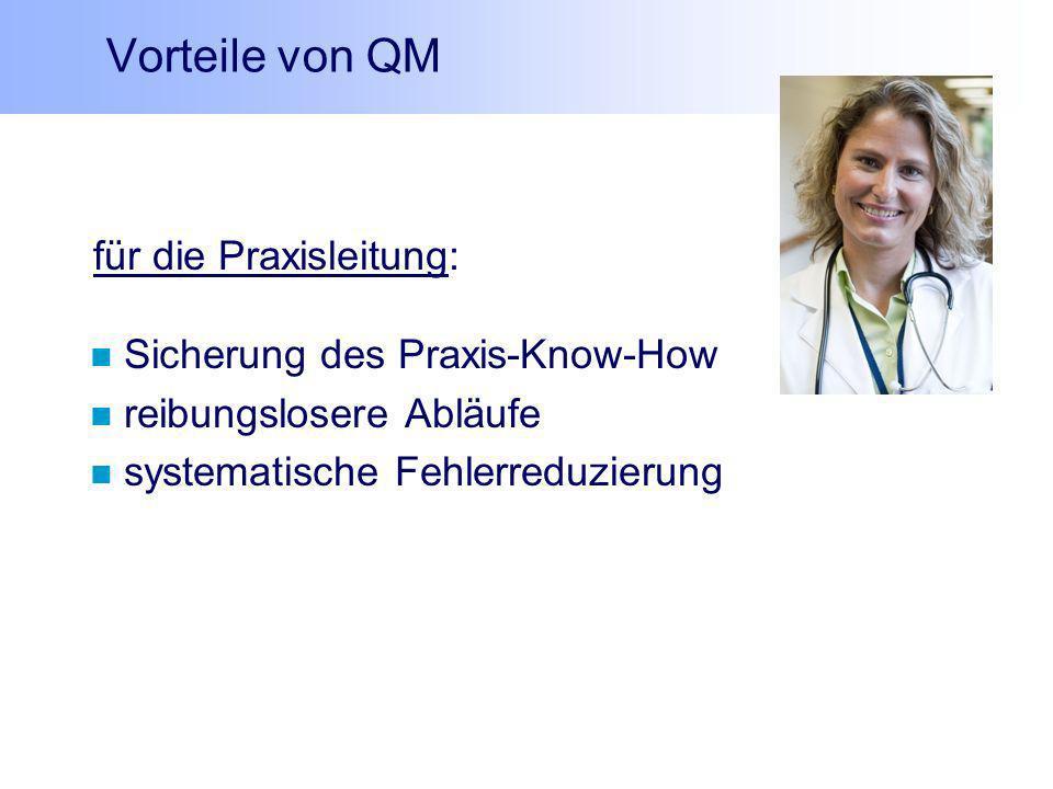Vorteile von QM für die Praxisleitung: Sicherung des Praxis-Know-How reibungslosere Abläufe systematische Fehlerreduzierung